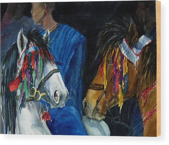 Equine Wood Print featuring the painting Camaroon by Gina Hall