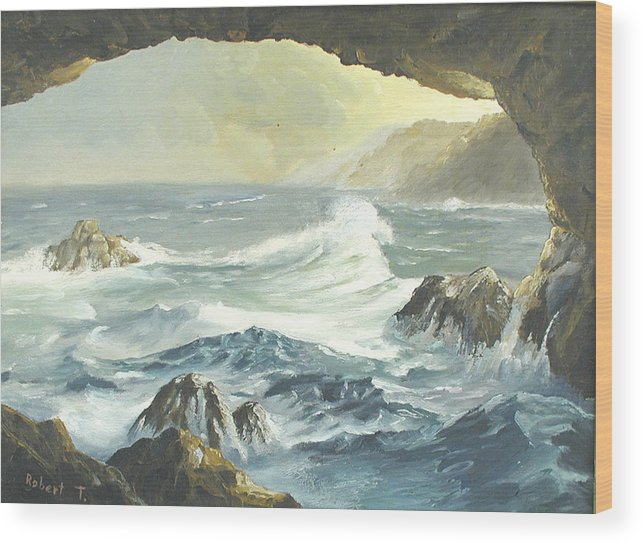 Coast Wood Print featuring the painting Costal Cave by Robert Thomaston