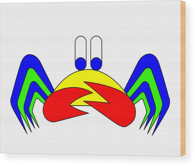 Crab-mac-claw Wood Print featuring the digital art Crab-mac-claw The Crab by Asbjorn Lonvig