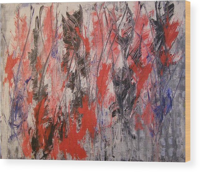 Abstract Wood Print featuring the painting Feathers by Don Phillips