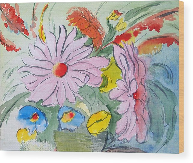 Floral Wood Print featuring the painting Fun Flowers by Robert Thomaston