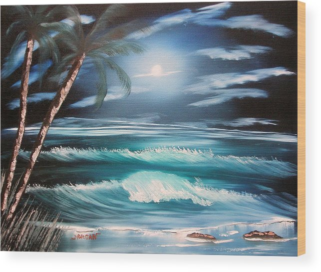 Seascape Wood Print featuring the painting Midnight Ocean by Sheldon Morgan