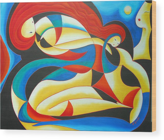 Abstract Expressionism Wood Print featuring the painting Motherhood by Marta Giraldo