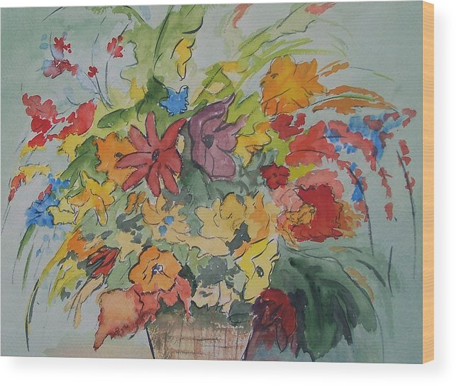 Watercolor Wood Print featuring the painting Pams Flowers by Robert Thomaston
