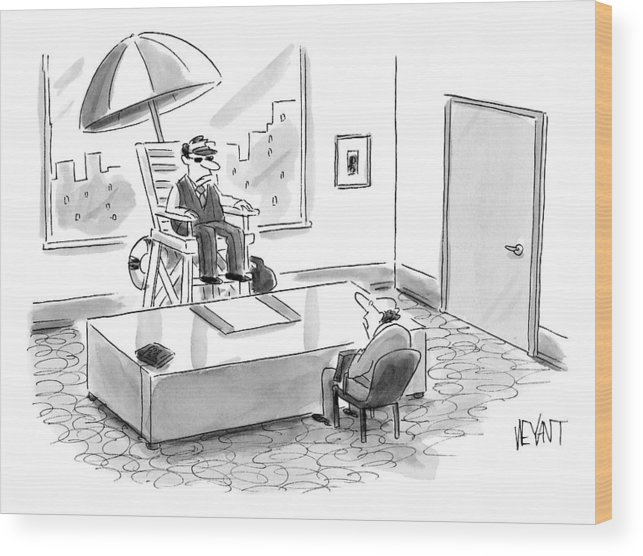 Lifeguards Wood Print featuring the drawing A Man Sits In A Tall Lifeguard Chair by Christopher Weyant