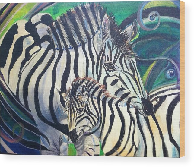 Zebras Wood Print featuring the painting Entwined Souls by Melissa Feinberg