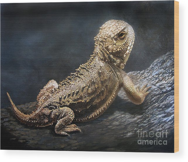 Horned Toad Wood Print featuring the painting Sunbather by Artist Karen Barton