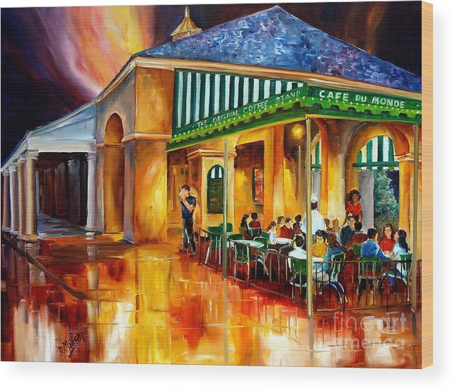 New Orleans Wood Print featuring the painting Midnight At The Cafe Du Monde by Diane Millsap