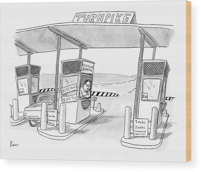 Word Play Autos Highways   (toll Booth Attendant At Toll Booth With Taped Up Sign Reading Wood Print featuring the drawing Captionless by Zachary Kanin