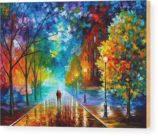Afremov Wood Print featuring the painting Freshness Of Cold by Leonid Afremov