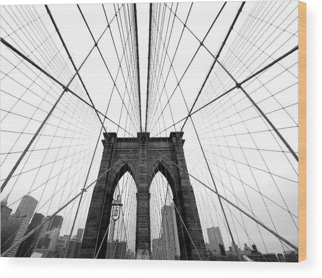 Ny Wood Print featuring the photograph Nyc Brooklyn Bridge by Nina Papiorek