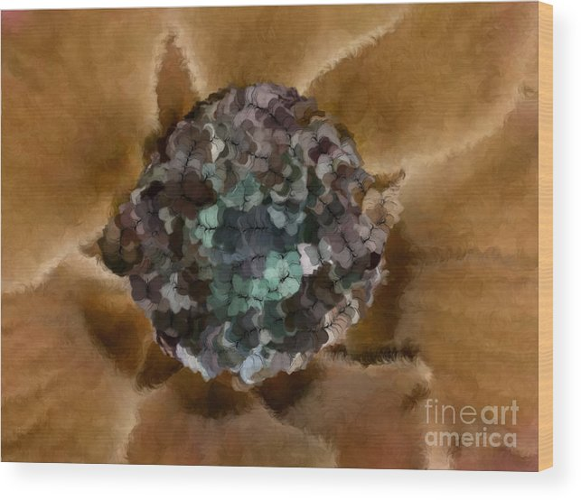 Flowers Wood Print featuring the digital art A Sky Full Of Lighters Brown Teal by Holley Jacobs