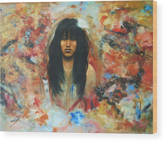 Indian Wood Print featuring the painting American Indian Maiden by Richard Hinger