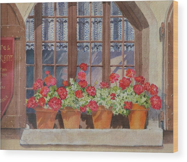 Watercolor Wood Print featuring the painting August At The Auberge by Mary Ellen Mueller Legault