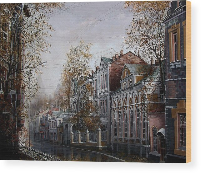 Autumn September Listopad City Street In The Rain Umbrella Weather Mood Architecture Gold Trees House The Horizon Painting Painting Acrylic Paint Wood Print featuring the painting Autumn Came To The City. by Aleksandr Starodubov