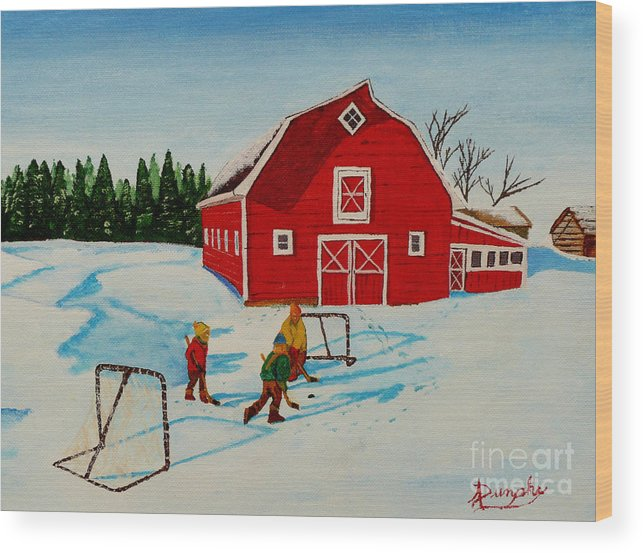 Hockey Wood Print featuring the painting Barn Yard Hockey by Anthony Dunphy