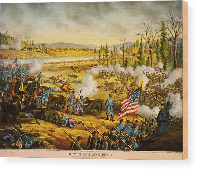 Battle Of Stones River Wood Print featuring the painting Battle Of Stones River by MotionAge Designs