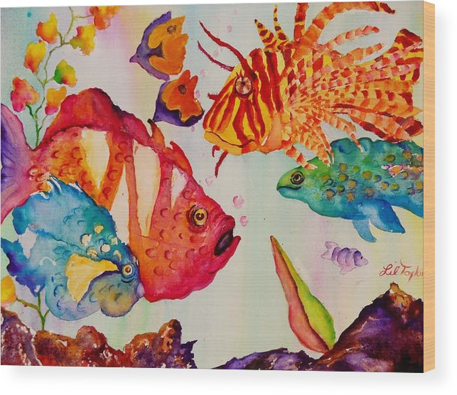 Aquarium Wood Print featuring the painting Beach Fun by Lil Taylor