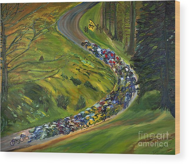 Lance Armstrong Wood Print featuring the painting Bike Race Belgium Arden Spring Classics by Gregory Allen Page
