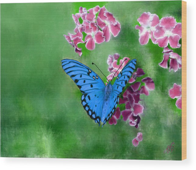 Blue Wood Print featuring the painting Blue Butterfly by Bruce Nutting