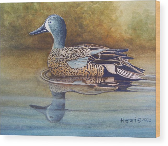 Rick Huotari Wood Print featuring the painting Blue Winged Teal by Rick Huotari
