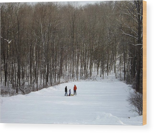 Sledding Wood Print featuring the photograph Bottom Of The Sled Hill by Linda Kerkau
