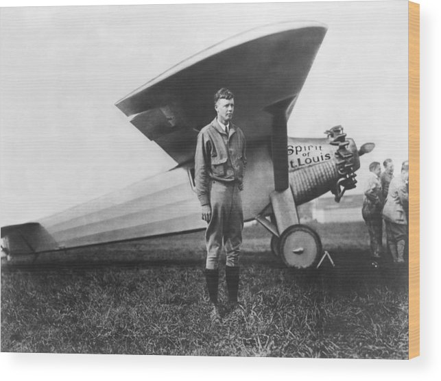 1927 Wood Print featuring the photograph Captain Charles Lindbergh by Underwood Archives