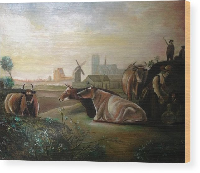 Landscape With Cows Resting On A Hill And A Woman Attending Watering The Animals With A Shepherd Watching On Top Of The Hill On A Clear Day. Wood Print featuring the painting Country Landscapes With Cows by Egidio Graziani