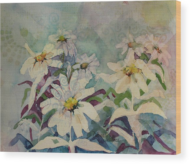 Daisies Wood Print featuring the painting Crazey Daisies by Diane Wallace
