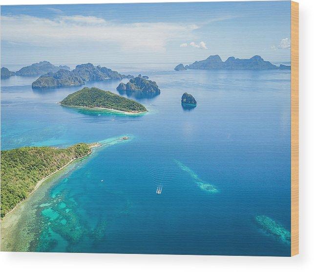 El Nido Palawan Pagauanen Snake Island Aerial View Philippines Wood Print