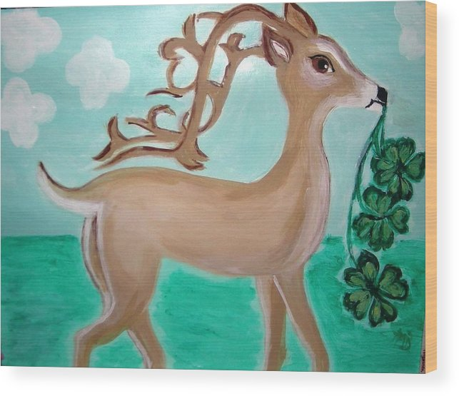 St. Patricks Day Wood Print featuring the painting Erin G.b. by Marie Bulger