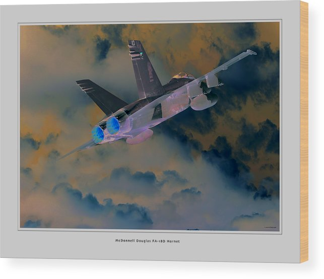 F-18 Hornet Framed Prints Wood Print featuring the photograph Fa-18d Hornet by Larry McManus