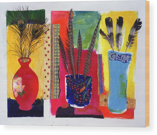 Flowers In A Vase Wood Print featuring the mixed media Feathered Triptych by Diane Fine