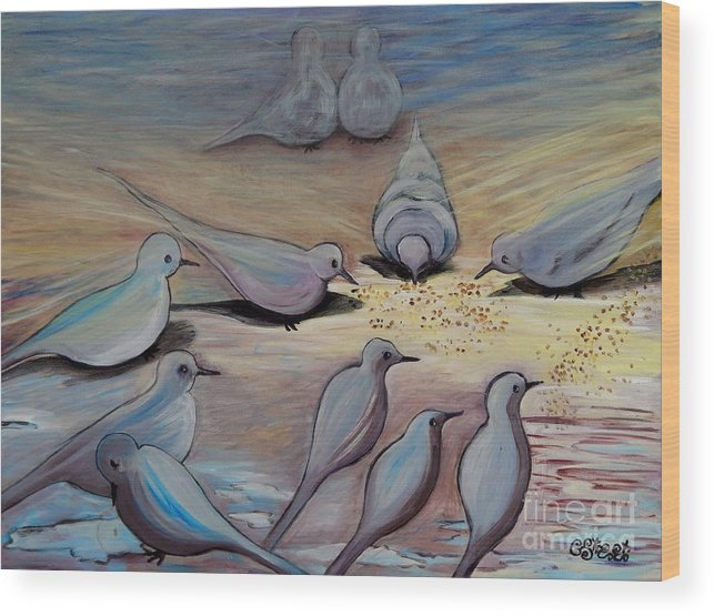 Birds Wood Print featuring the painting Feed The Birds by Caroline Street