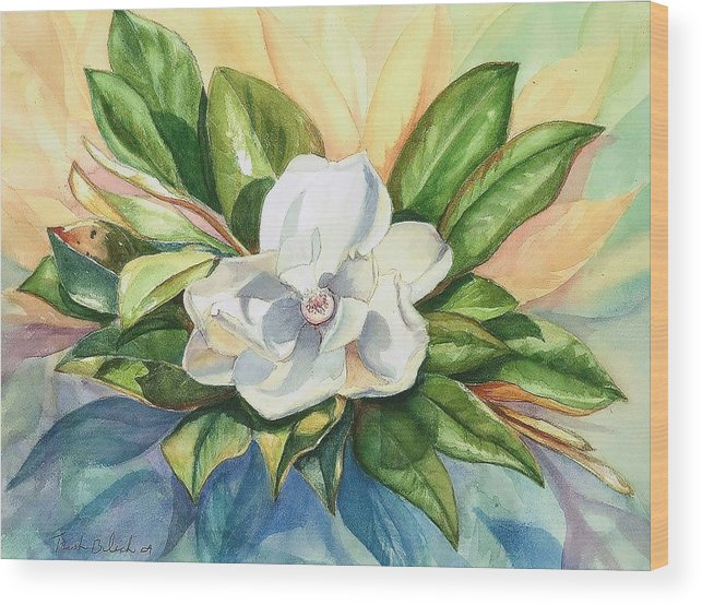 Magnolia Wood Print featuring the painting Floating Magnolia by Trish Bilich