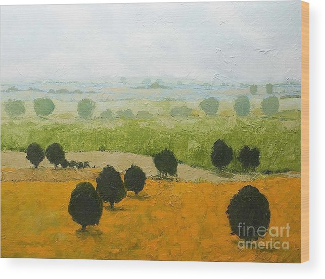 Landscape Wood Print featuring the painting Fog Lifting Fast by Allan P Friedlander