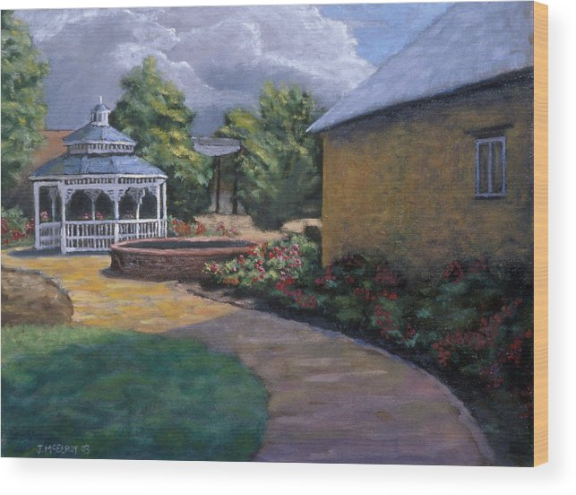 Potter Wood Print featuring the painting Gazebo In Potter Nebraska by Jerry McElroy