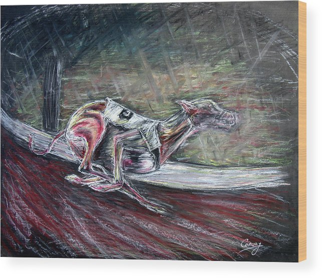 Dog Wood Print featuring the drawing Greyhound Number Three by Tom Conway