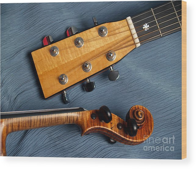 Guitar Wood Print featuring the photograph Guitar And Violin Heads On Blue by Anna Lisa Yoder