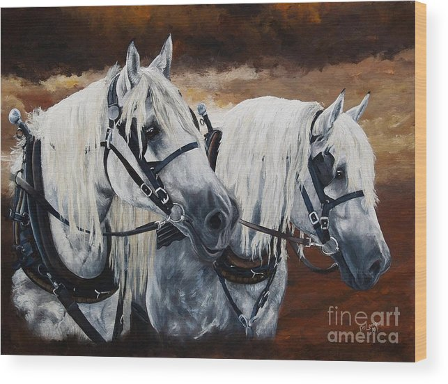 Draft Horses Wood Print featuring the painting Horse Collar Workers by Pat DeLong