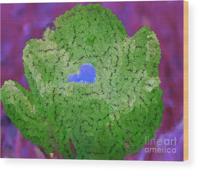 Flowers Wood Print featuring the digital art How Things Were Purple Green Blue by Holley Jacobs