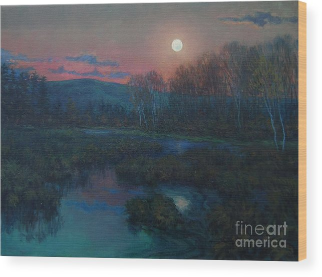 Moon Hunter Nocturnal Wood Print featuring the painting Hunter's Moon Rising by Gerard Natale