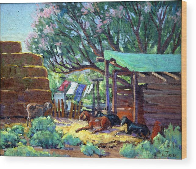 Wood Print featuring the painting Lamb's Barn by Douglas Turner