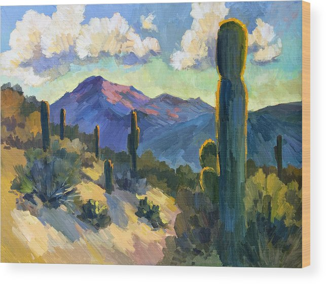 Late Afternoon Wood Print featuring the painting Late Afternoon Tucson by Diane McClary