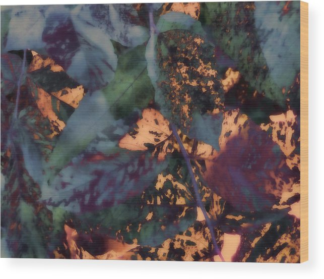 Leaves Abstraction I Wood Print featuring the digital art Leaves Abstraction IIi by Devalyn Marshall