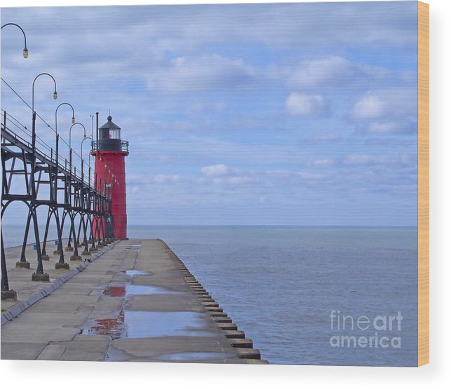 Lighthouse Wood Print featuring the photograph Little Red Light by Ann Horn