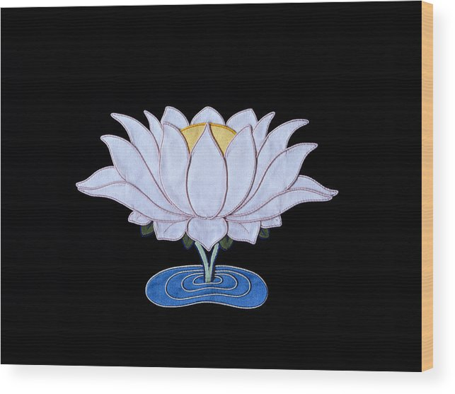 Lotusflower Wood Print featuring the tapestry - textile Lotus by Leslie Rinchen-Wongmo