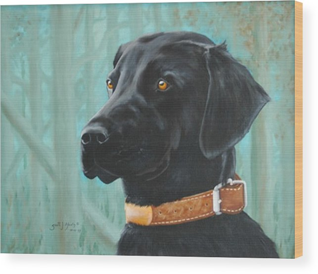 Dog Wood Print featuring the painting Maggie by Scott Alcorn