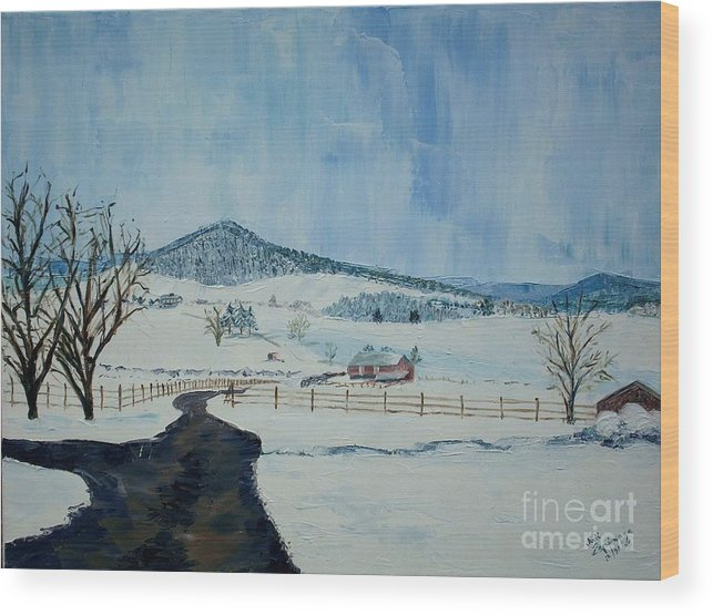 Mole Hill; Snow; Dark Driveway In Foreground Wood Print featuring the painting March Snow On Mole Hill - Sold by Judith Espinoza