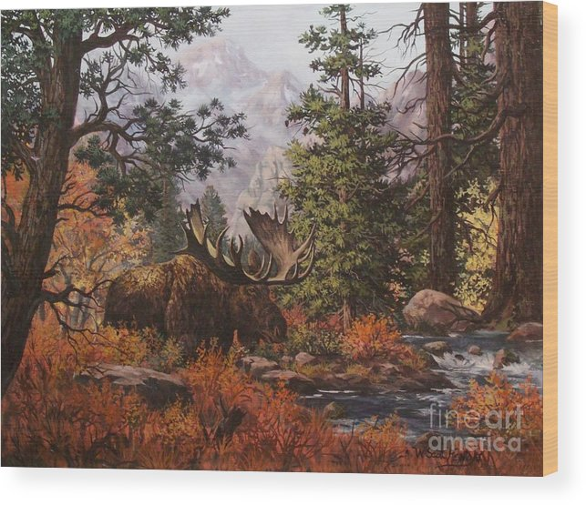 Wildlife Wood Print featuring the painting Monarch by W Scott Fenton